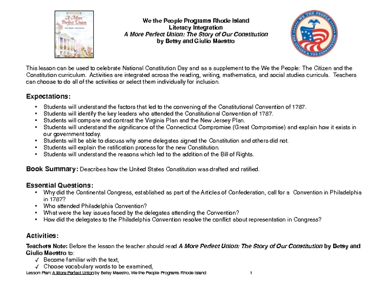 A More Perfect Union: The Story of Our Constitution Lesson Plan