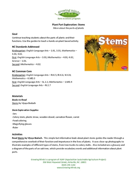 Plant Part Exploration: Stems Lesson Plan