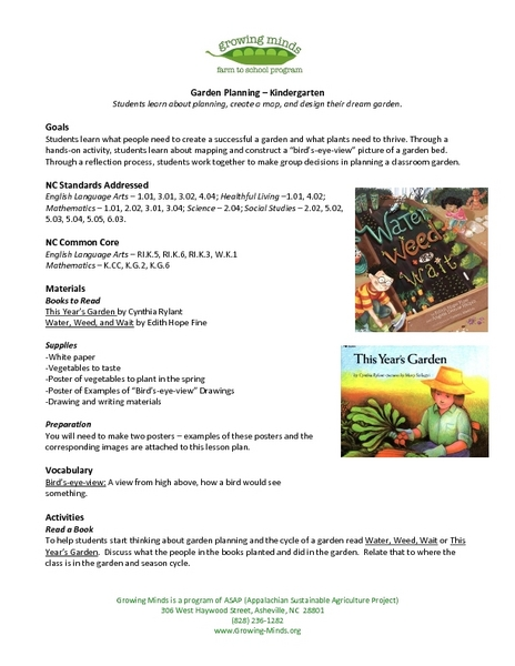 Garden Planning - Kindergarten Lesson Plan