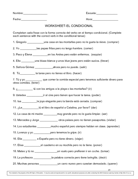 Spanish Conditional Tense Worksheet - Tecnologialinstante