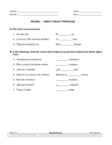 Prueba-Direct Object Pronouns 9th - 10th Grade Worksheet   Lesson ...