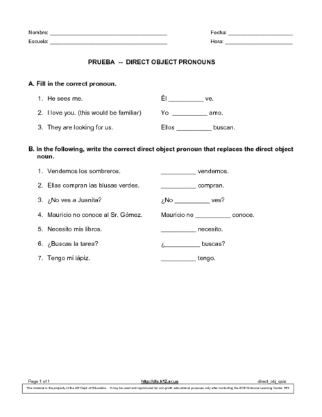 Prueba Direct Object Pronouns Worksheet For 9th 10th