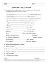 Er and -Ir Verbs 6th - 8th Grade Worksheet | Lesson Planet