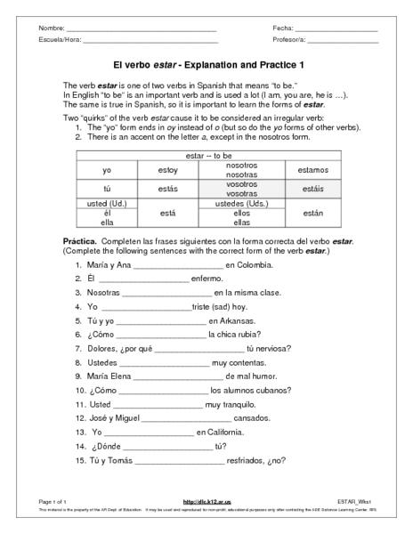 el verbo estar explanation and practice 1 worksheet for 6th 7th grade lesson planet. Black Bedroom Furniture Sets. Home Design Ideas