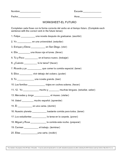 Collection of Future Tense Spanish Worksheet - Sharebrowse