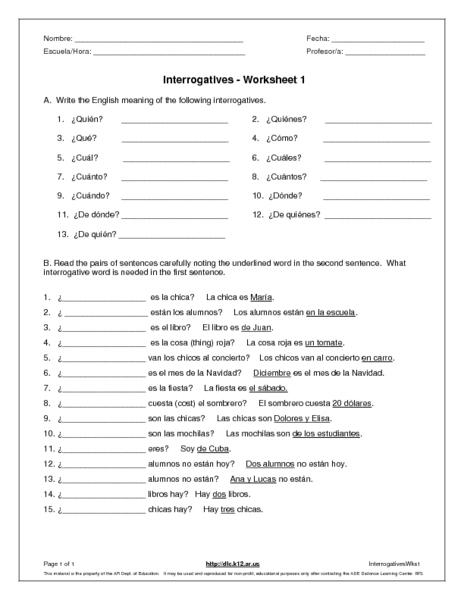 Interrogatives 6th - 7th Grade Worksheet | Lesson Planet
