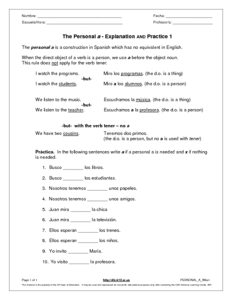 the personal a explanation and practice worksheet for 6th 8th grade lesson planet. Black Bedroom Furniture Sets. Home Design Ideas