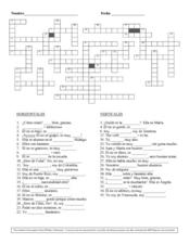 Basic Spanish Crossword Puzzle Worksheet