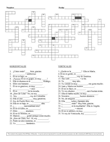 basic spanish crossword puzzle worksheet for 6th 8th grade lesson planet. Black Bedroom Furniture Sets. Home Design Ideas