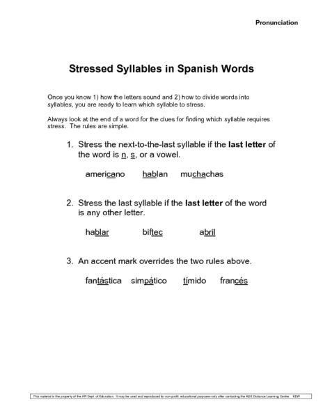 Stressed Syllables in Spanish Words Worksheet for 6th - 8th ...