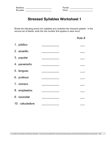 stressed syllables worksheet worksheet for 6th 8th grade lesson planet. Black Bedroom Furniture Sets. Home Design Ideas