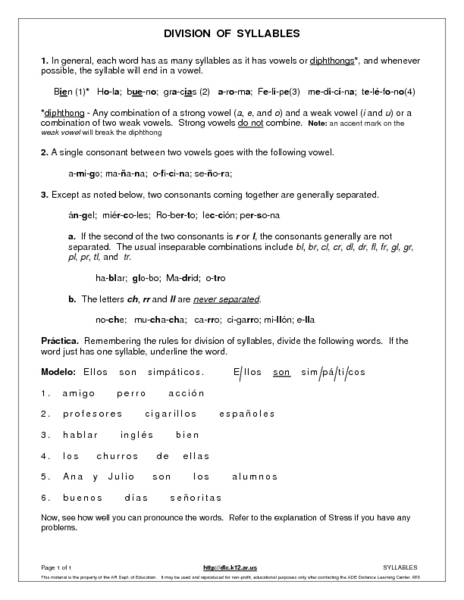 Division of Syllables Worksheet