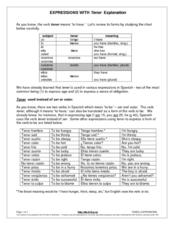 Expressions with Tener Explanation Worksheet