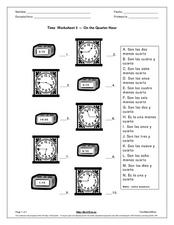 Time Worksheet 3-On the Quarter Hour Worksheet