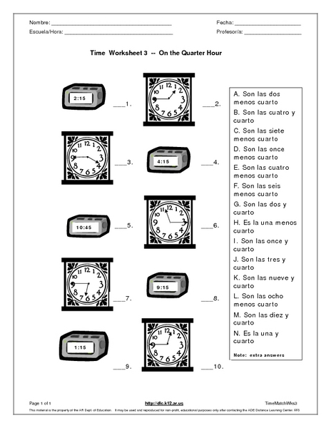 Time Worksheet 3-On the Quarter Hour Worksheet for 6th