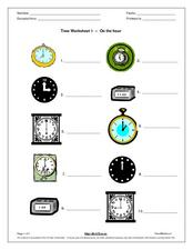 Time Worksheet- On the hour Worksheet
