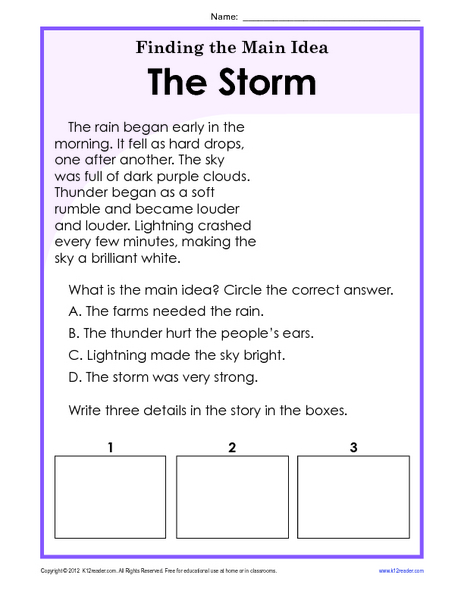 Finding The Main Idea: The Storm Worksheet For 1st - 2nd Grade Lesson  Planet