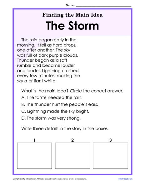 English teaching worksheets: Identifying the main idea