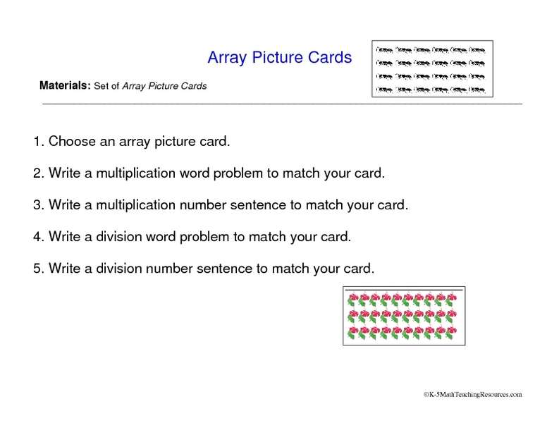 Array Picture Cards Worksheet