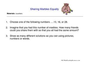 Sharing Marbles Equally Worksheet