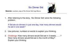 Word Problems Using Six Dinner Sid Worksheet
