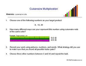 cuisenaire rods multiplication lesson plans  worksheets cuisenaire multiplication worksheet