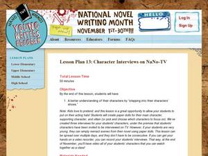 Lesson Plan 13: Character Interviews on NaNoTV Lesson Plan