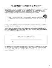 What Makes a Novel a Novel?  Worksheet