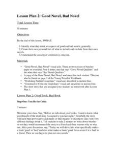 Lesson Plan 2: Good Novel, Bad Novel Lesson Plan