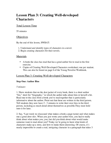 Lesson 3: Creating Well Developed Characters Lesson Plan