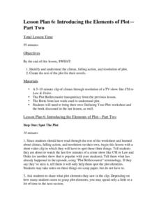 Lesson Plan 6: Introducing the Elements of Plot-Part Two Lesson Plan