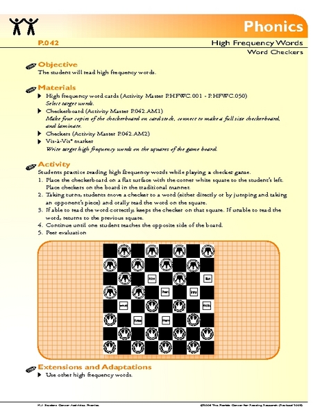 Word Checkers Lesson Plan