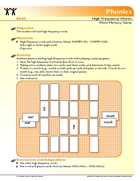 Memory Word Game Lesson Plan