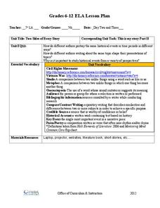 Flip Chart Literary Elements Lesson Plans Worksheets