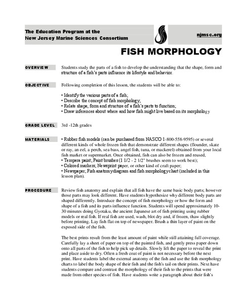 Fish Morphology Activities & Project