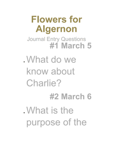 Flowers for Algernon: Journal Entry Questions Presentation