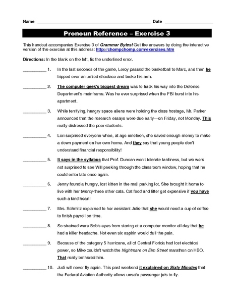 Pronoun Reference Exercise 3 Worksheet For 6th 8th