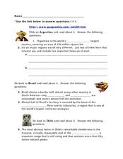 Argentina: Explore Latin America Worksheet