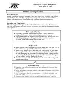 Outlines and Organization: Sample Outline Worksheet