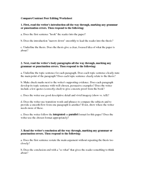 Compare/Contrast Peer Editing Worksheet Worksheet