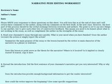 Narrative Peer Editing Worksheet Worksheet