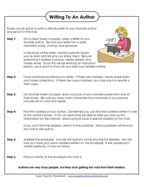Writing to an Author Worksheet
