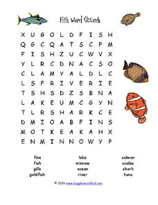 Fish Word Search Worksheet