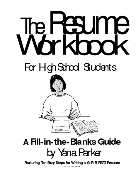 The Resume Workbook for High School Students Worksheet