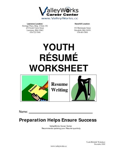 Youth Resume Worksheet: Resume Writing Worksheet For 10th   12th Grade |  Lesson Planet  Resume Worksheet