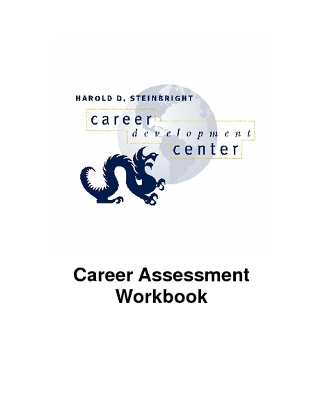 Career Assessment Workbook Worksheet