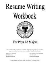 Resume Writing Workbook for Phys Ed Majors Worksheet