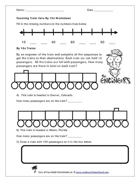 counting train cars by 10s worksheet worksheet for kindergarten 1st grade lesson planet. Black Bedroom Furniture Sets. Home Design Ideas