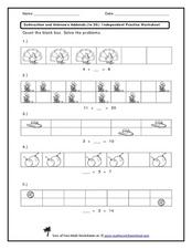 Unknown Addends (to 20): Count the Blank Boxes Worksheet