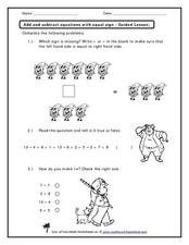 Add and Subtract Equations with Equal Sign Worksheet